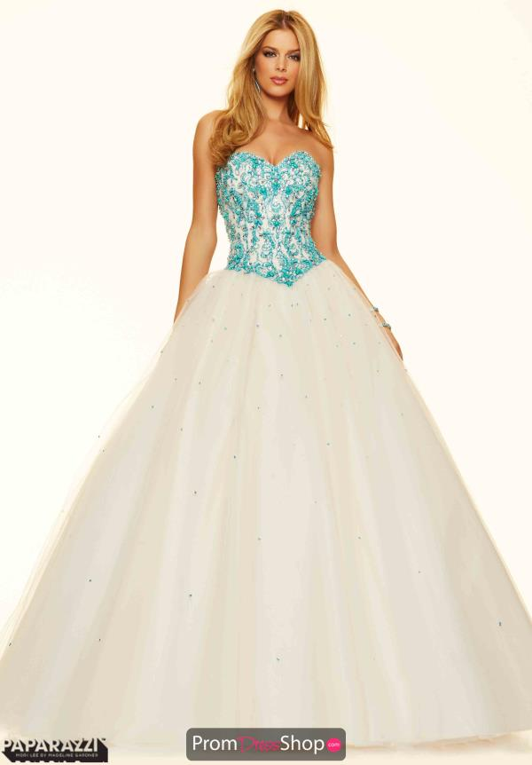Mori Lee Beaded Champagne Dress 98079
