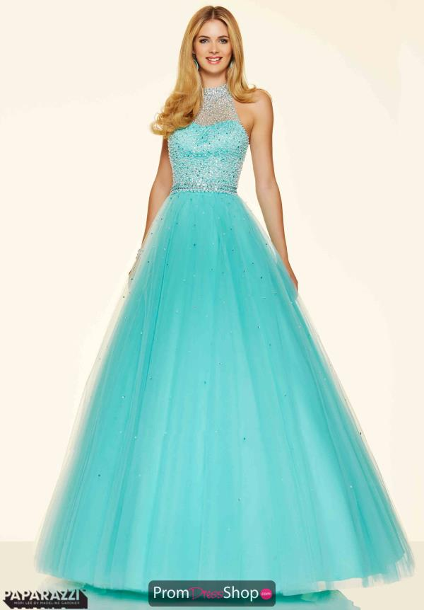 Mori Lee Tulle Aqua A-Line Dress 98096
