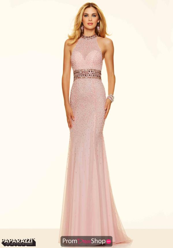 Mori Lee Long Beaded Pink Dress 98103