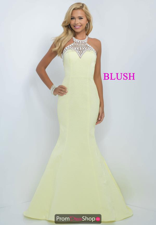 Blush Halter Top Mermaid Yellow Dress 11026