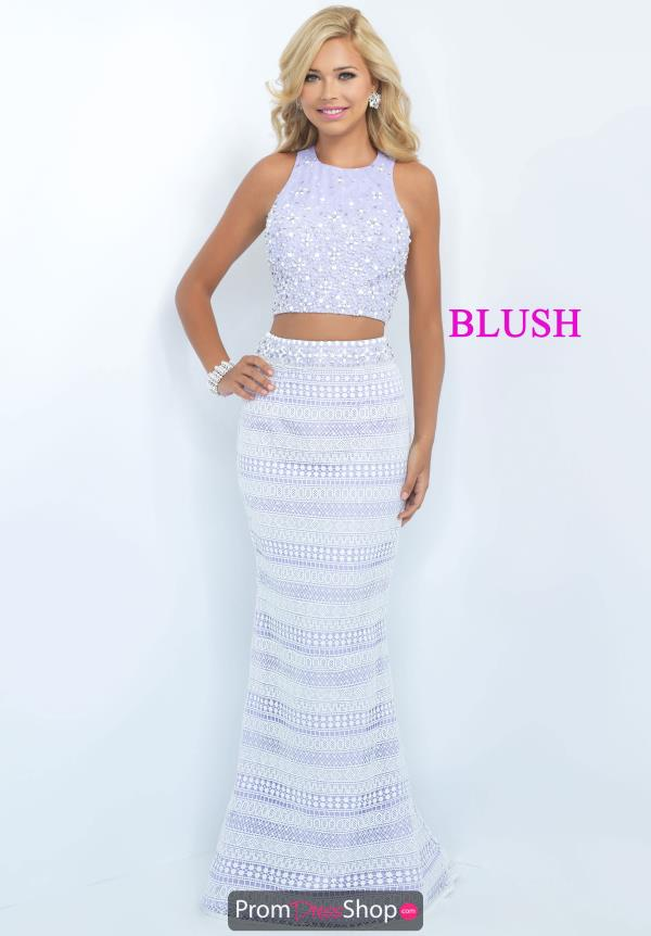 Blush Long Fitted Two Piece Dress 11067