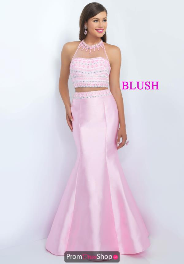 Blush Open Back Beaded Dress 11084
