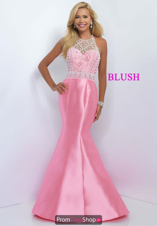 Blush Fitted Taffeta Dress 11092