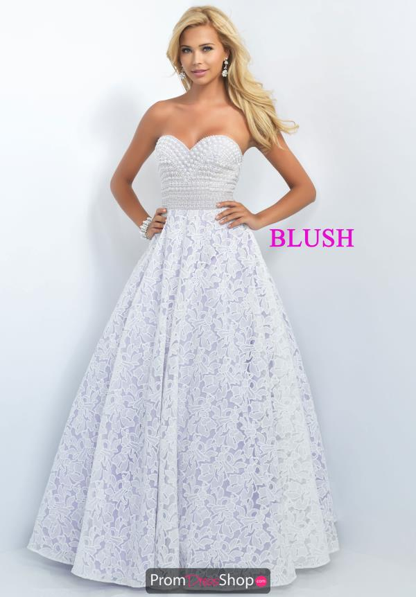 Blush Long Lace A Line Dress 5520