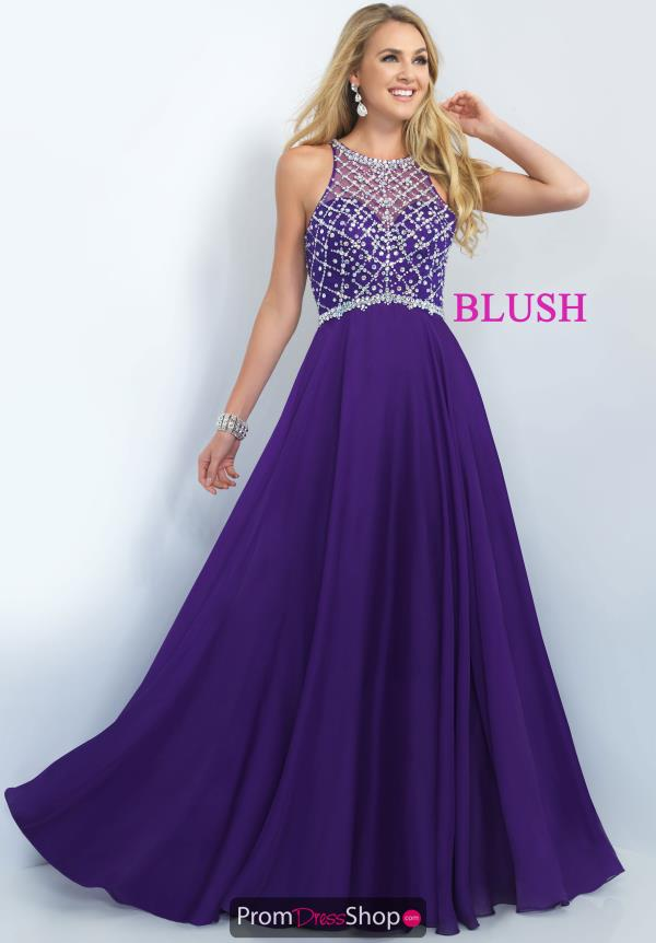 Blush Chiffon A Line Purple Dress 11071