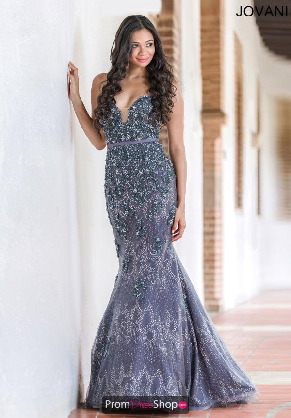 Jovani Silver Beaded Long Dress 29140