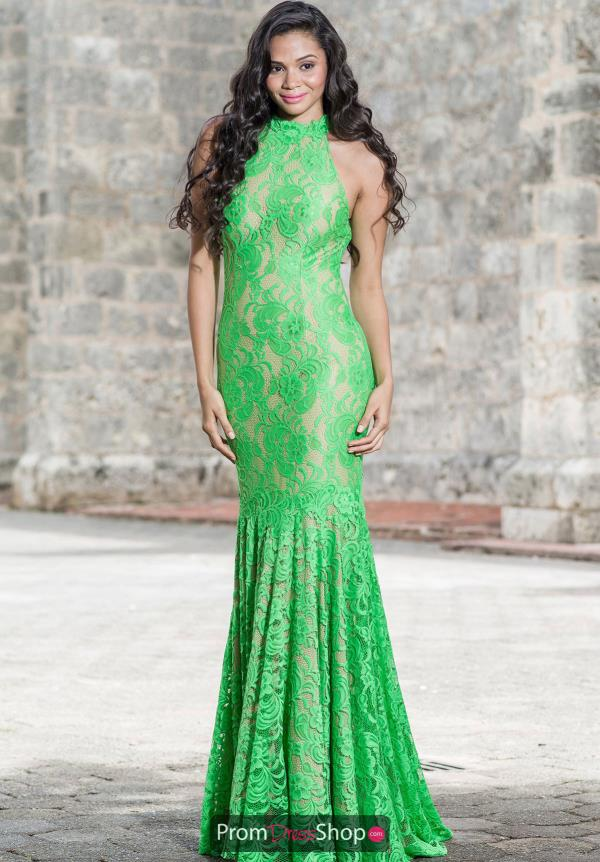 Jovani Lace Fitted Green Dress 34054