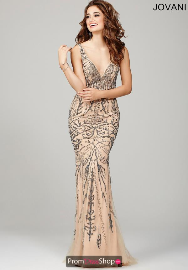 Jovani V- Neckline Beaded Dress 36755