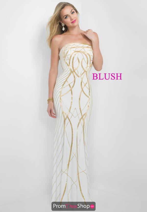 Blush White Fitted Srapless Dress 7014