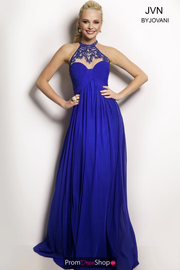 JVN by Jovani Long A Line Blue Dress JVN22363