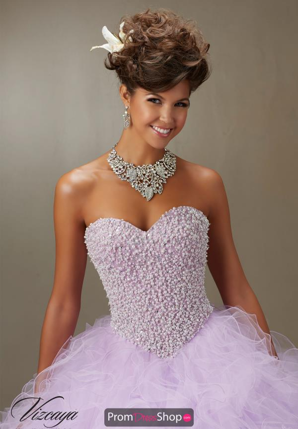 Vizcaya Quinceanera Beaded Lace Back Dress 89077