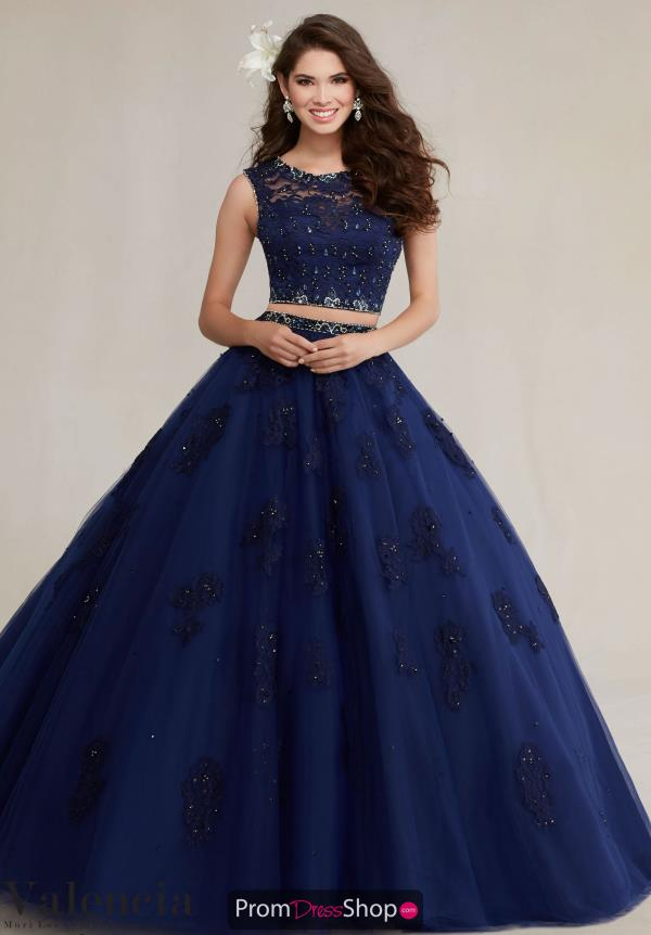 Vizcaya Quinceanera Sleeved Navy Dress 89088
