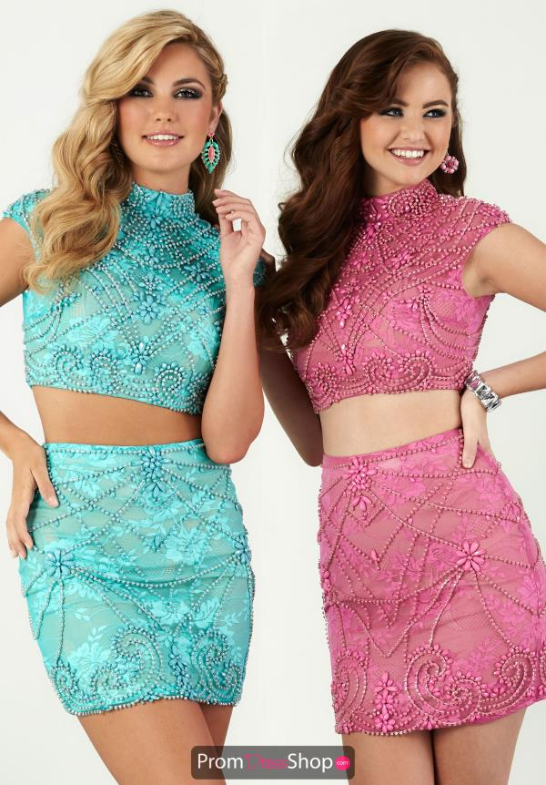 Hannah S Beaded Two Piece Aqua Dress 27078