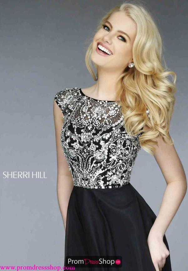 Sherri Hill Cap Sleeve Navy Dress 32017