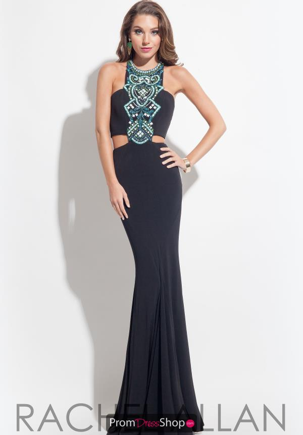 Rachel Allan Beaded Halter Top Dress 7099