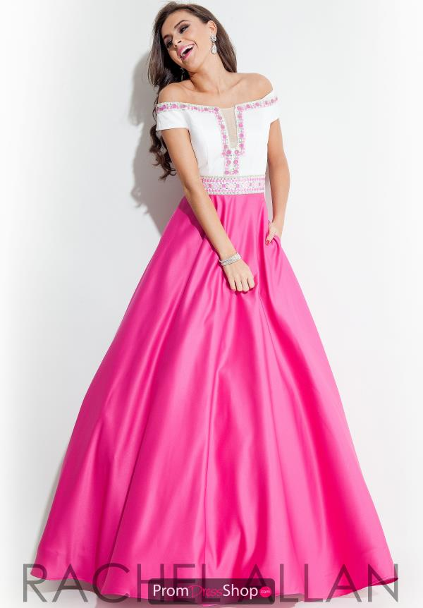 Strapless Long Hot Pink Rachel Allan Dress 7101