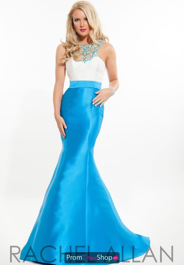 Beaded High Neckline Rachel Allan Dress 7125