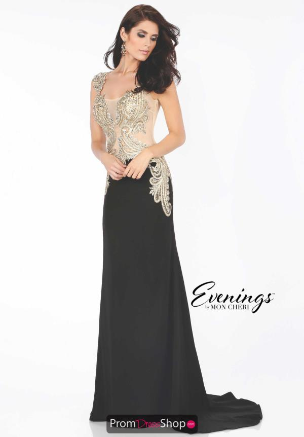 Evenings by Mon Cheri Two Straps Applique Dress MCE11658