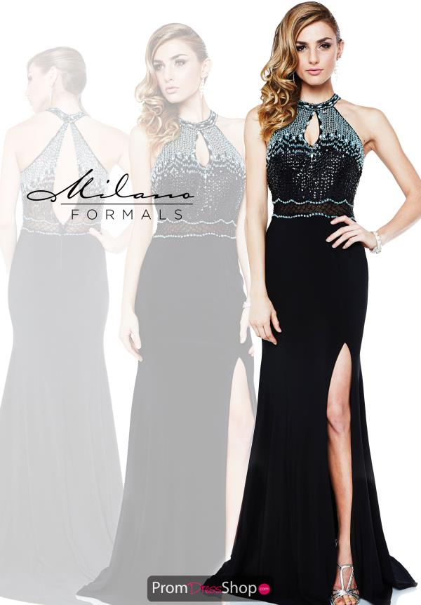 Halter Top Beaded Milano Formals Dress E1854