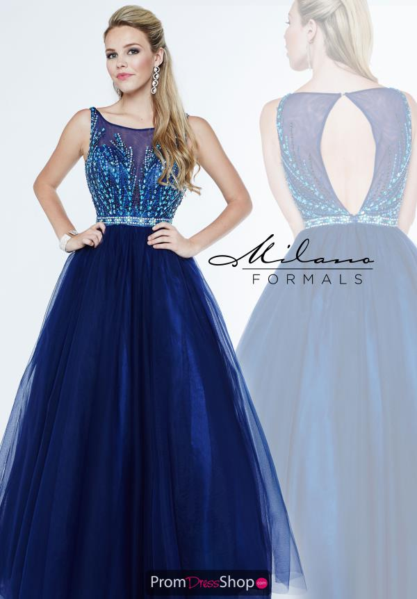 Beaded Long Navy Milano Formals Dress E1899