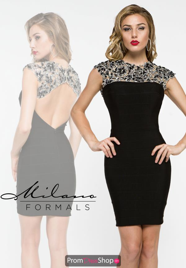 Milano Formals Fitted Black Dress E1950