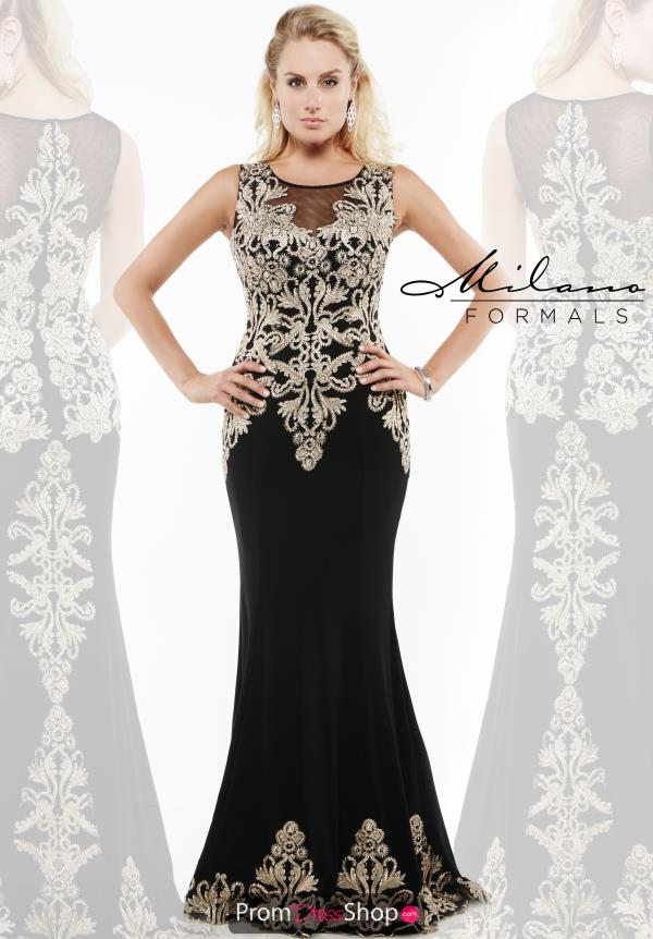 Milano Formals Fit and Flare Black Dress E1959