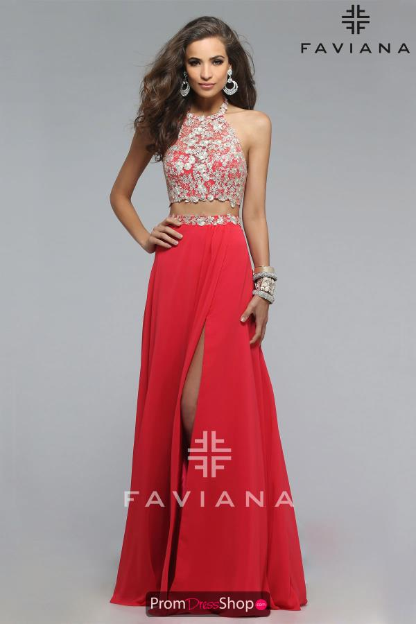 Beaded Two Piece Faviana Dress 7716