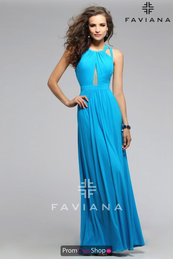Faviana Sexy Back Navy Dress 7741
