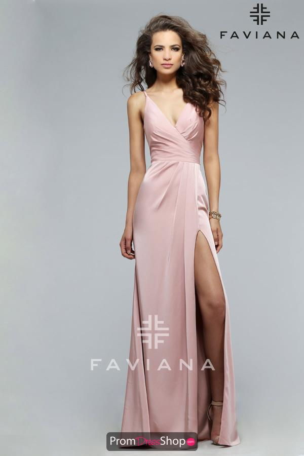 Faviana Long Satin V Neckline Dress 7755