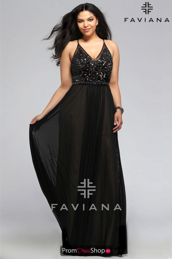 Faviana Long Flowy Chiffon Dress 9373