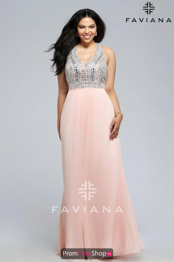 Faviana Beaded A Line Dress 9388