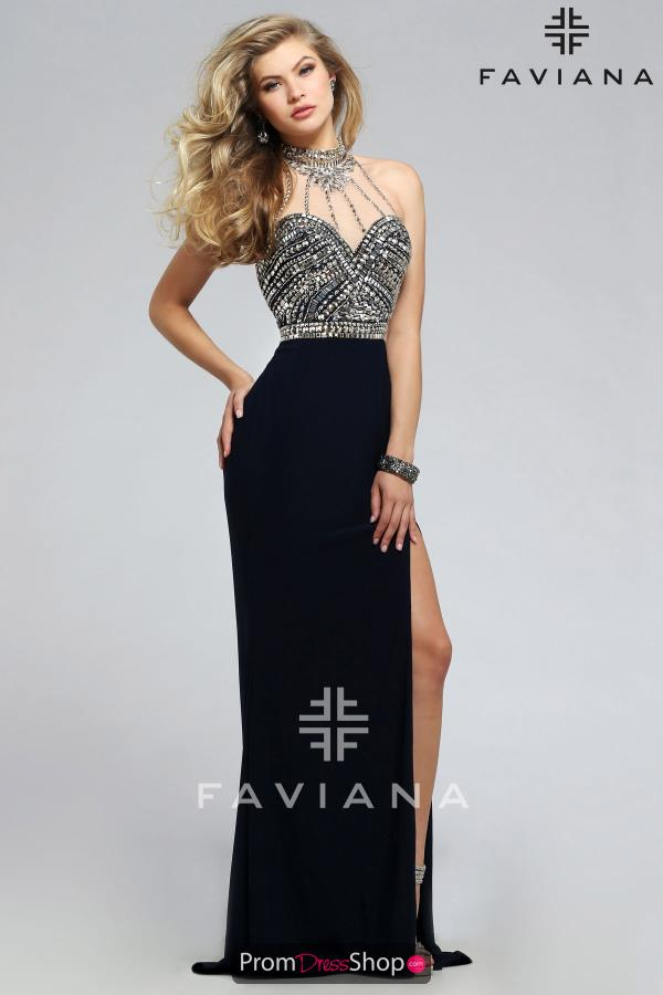 Faviana Fitted High Beaded Neckline Navy Dress S7711