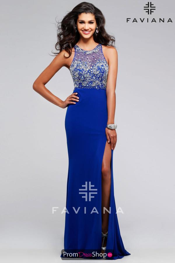 Faviana Halter Top Beaded Dress S7765
