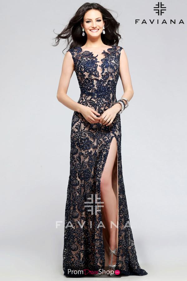 Faviana Navy Lace Fitted Dress S7814