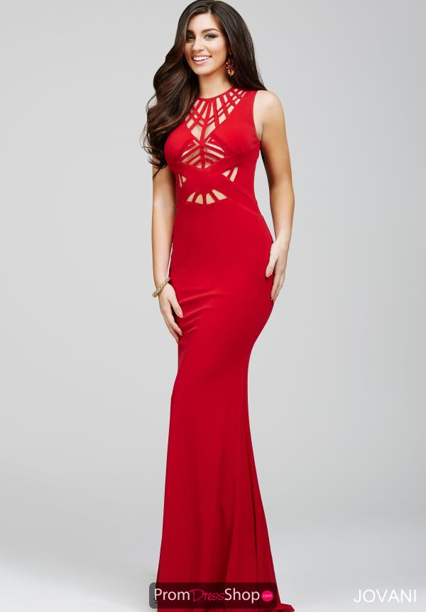 Jovani Sexy Fitted Celebrity Red Dress 21494
