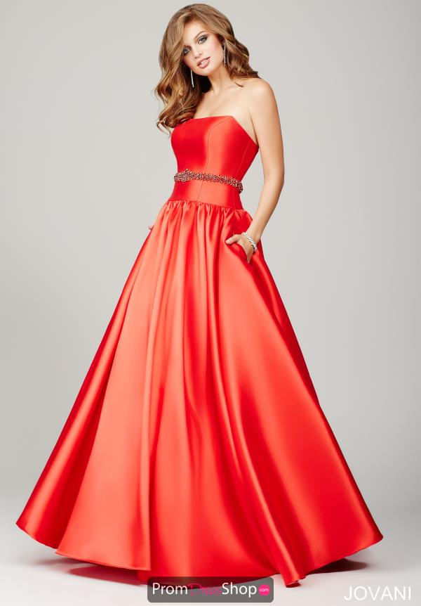 Strapless Satin Jovani Dress 34040