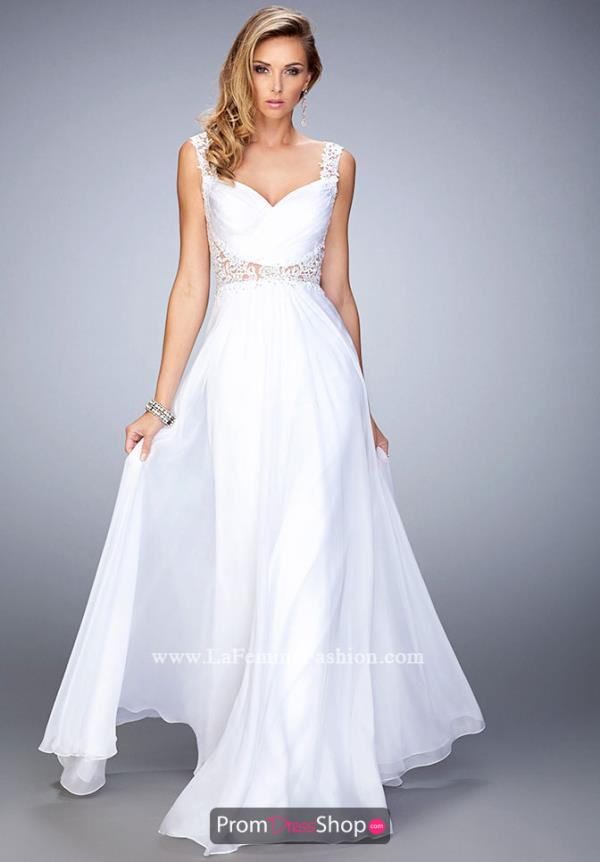 A Line Beaded La Femme White Dress 21550