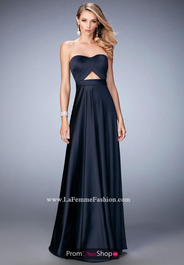 Strapless Long La Femme Navy Formal Dress 22052