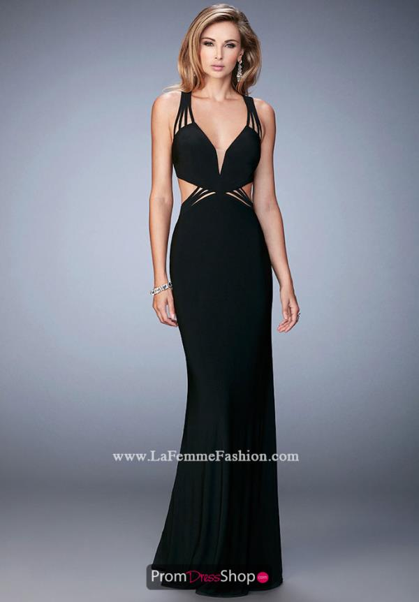 V Neckline Winter Formal La Femme Dress 22240