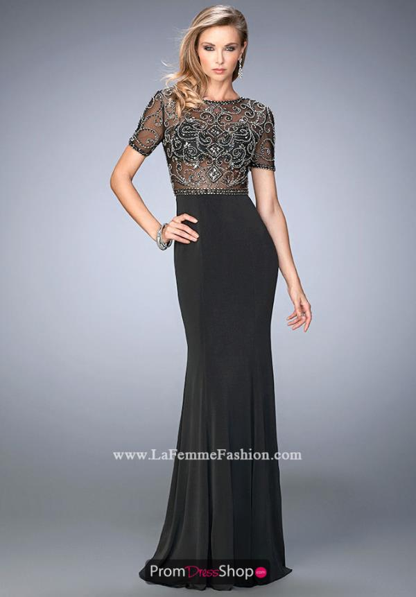 Gigi Sheer Bodice Long Beaded Dress 22647