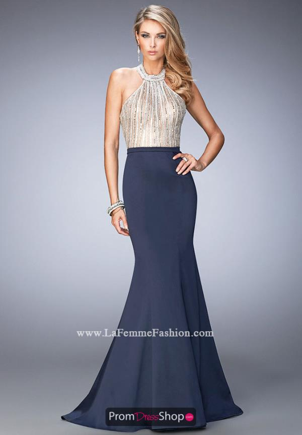 Halter Top Beaded La Femme Dress 22177
