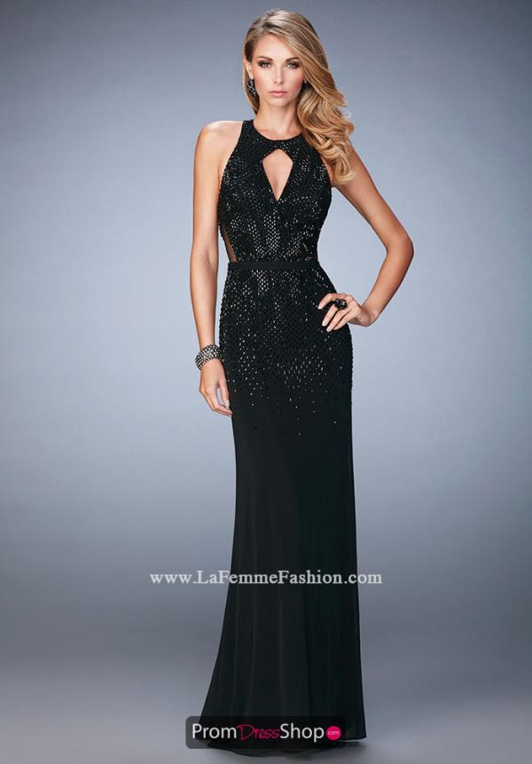 La Femme Long Fitted Dress 22266
