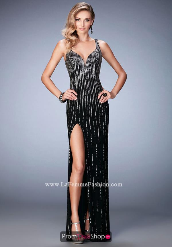 Long Fitted La Femme Dress 22305