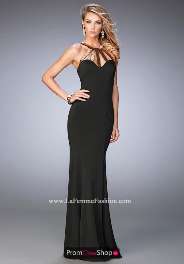 Long Fitted La Femme Dress 22329