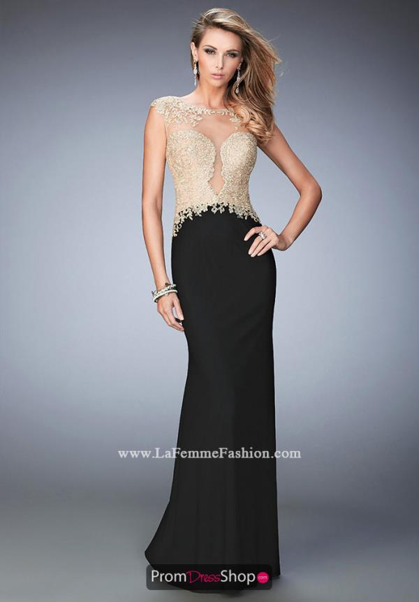 Long Fitted La Femme Dress 22349