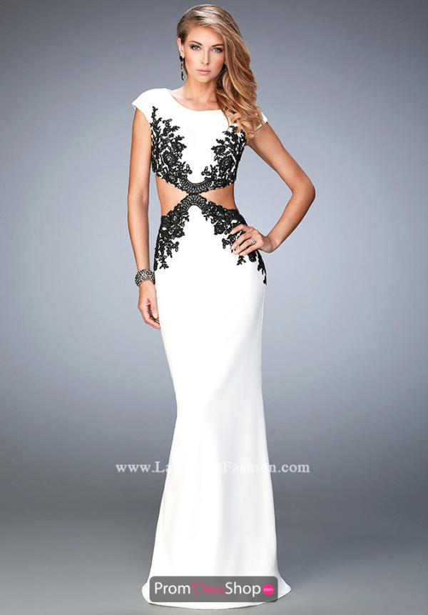La Femme High Neckline Fitted Dress 22426