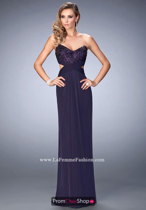 Strapless Neckline Beaded La Femme Dress 22454