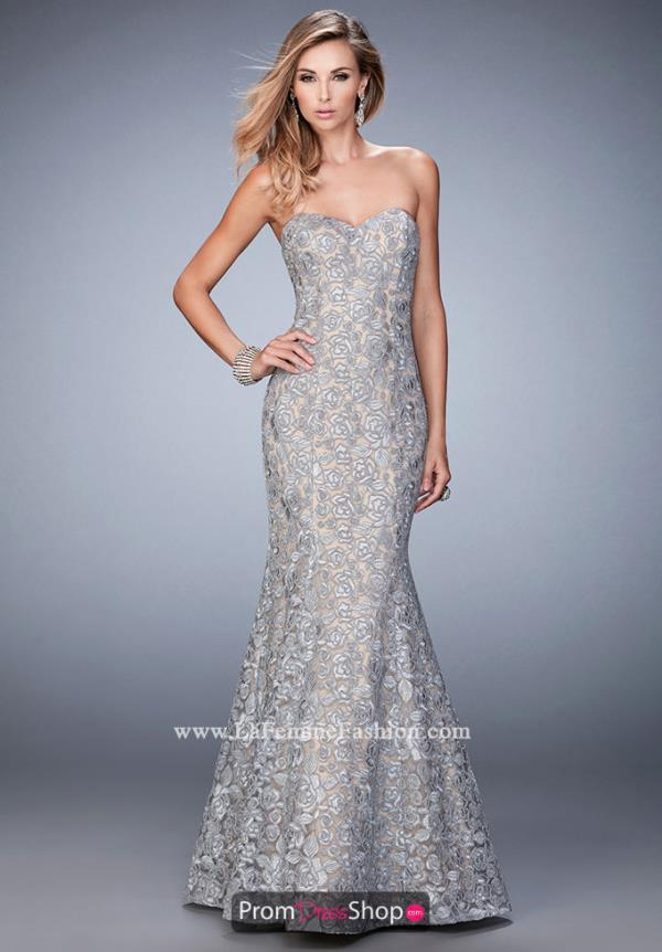 Navy Lace Fitted La Femme Dress 22511