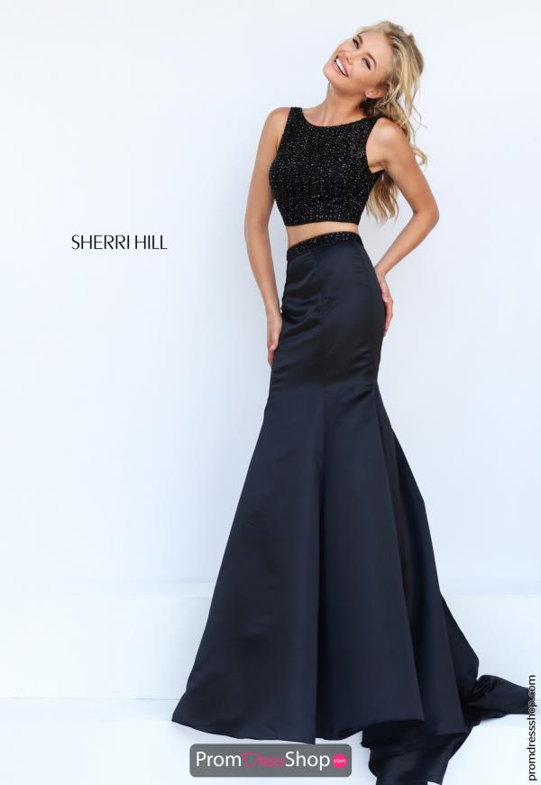 Long Beaded Black Sherri Hill Dress 50098