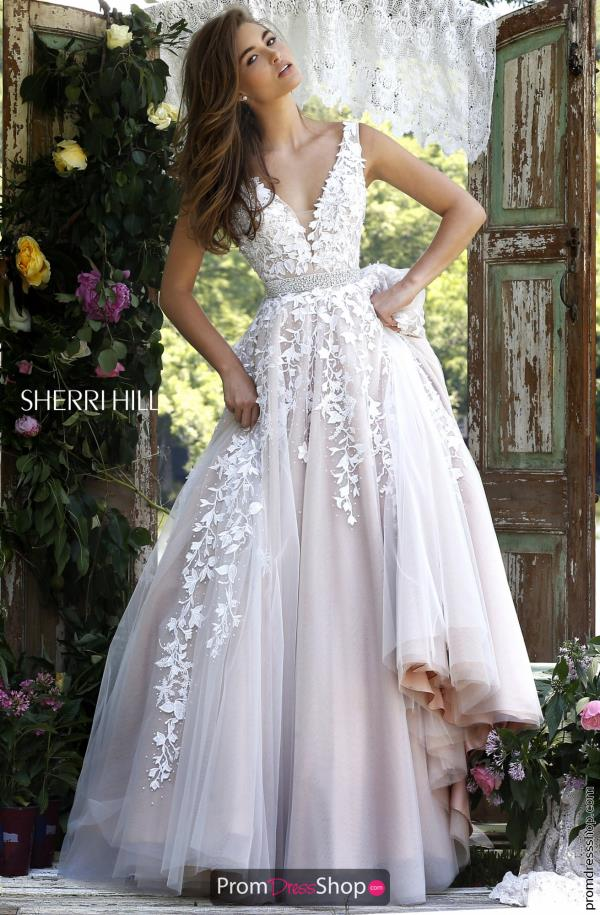 Long Applique Sherri Hill Dress 11335